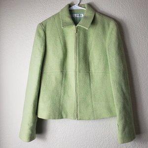 Tahari Green Wool Zip up jacket (Women's 10)